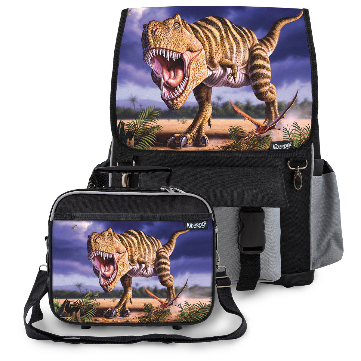 Striped T-Rex Dinosaur School Backpack & Lunchbox Set for Boys, Girls, Kids