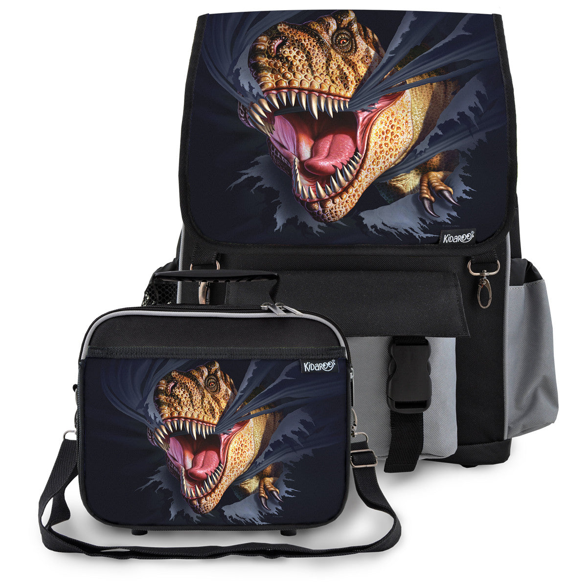 Kidaroo Black Tearing T-Rex Dinosaur School Backpack & Lunchbox Set for Boys, Girls, Kids