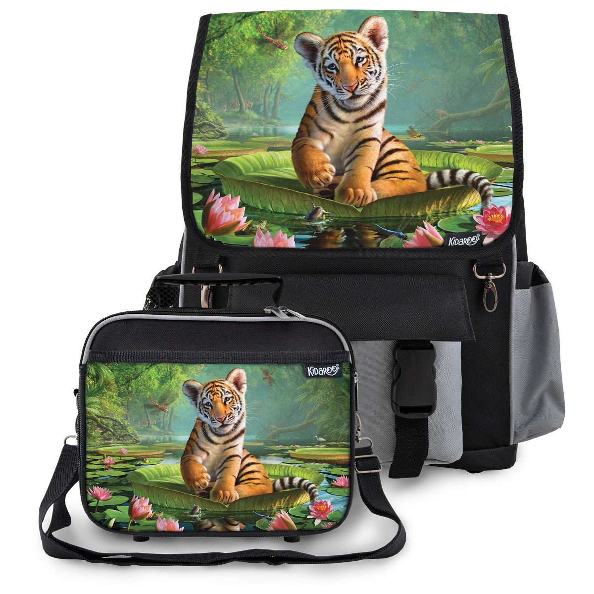 Kidaroo Black Tiger Cub On Lily Pad School Backpack & Lunchbox Set for Boys, Girls, Kids