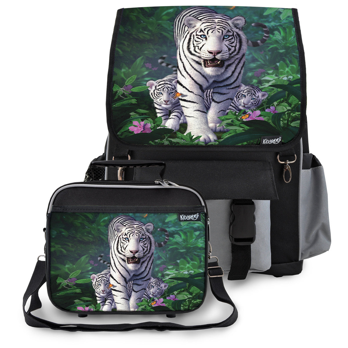 Kidaroo Black White Tiger & Cubs School Backpack & Lunchbox Set for Boys, Girls, Kids