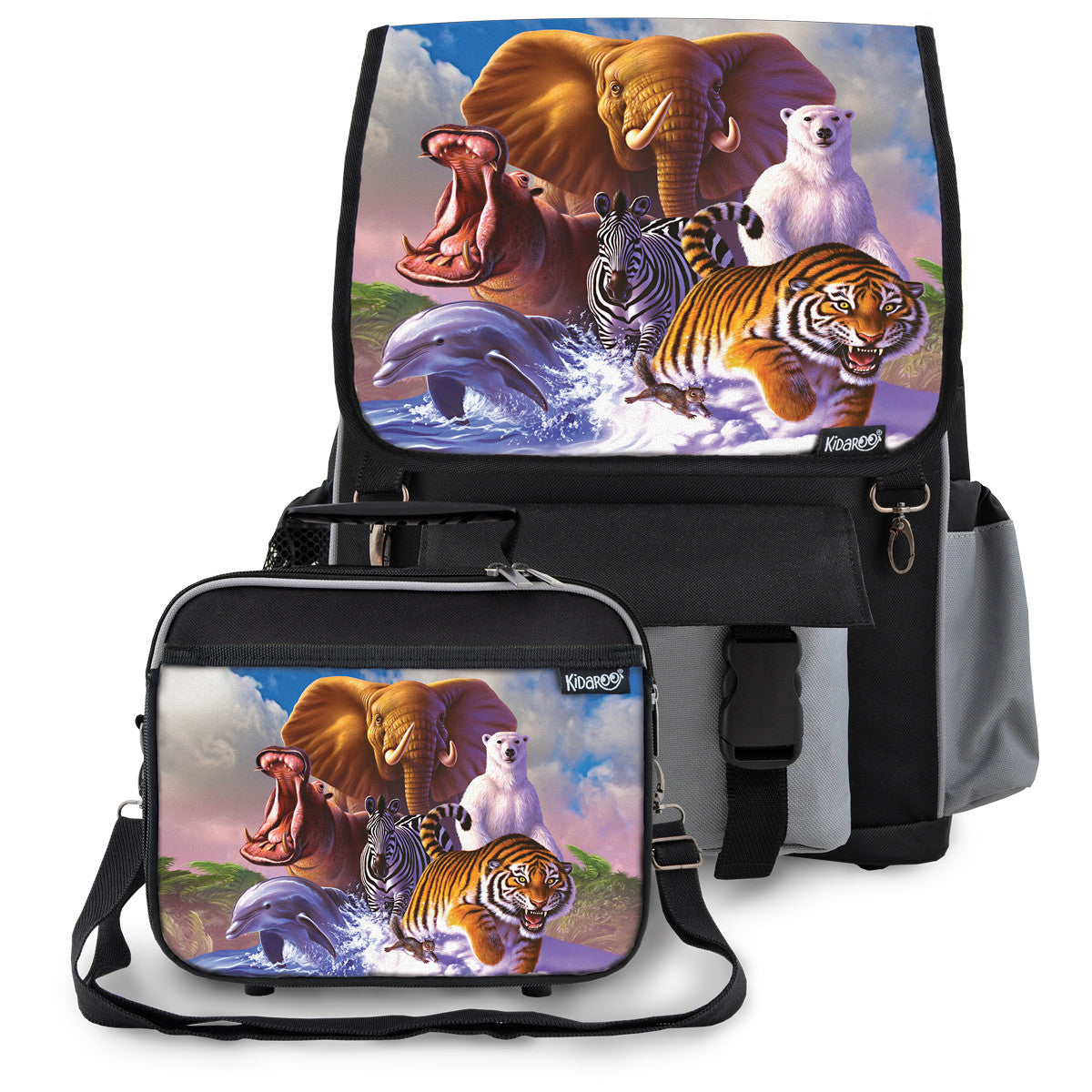 Kidaroo Black Wildlife Planet School Backpack & Lunchbox Set for Boys, Girls, Kids