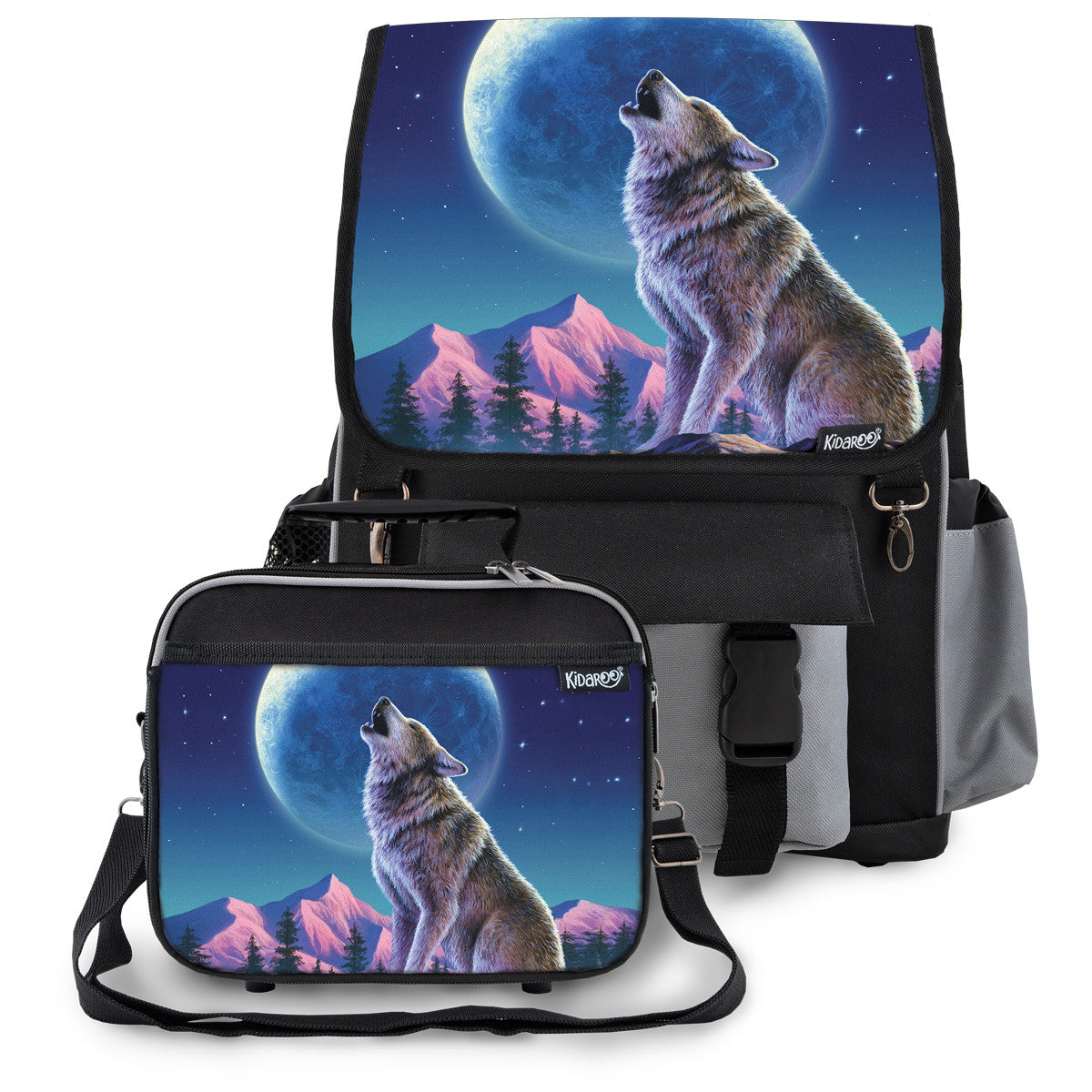 Kidaroo Black Wolf Moon Howl School Backpack & Lunchbox Set for Boys, Girls, Kids