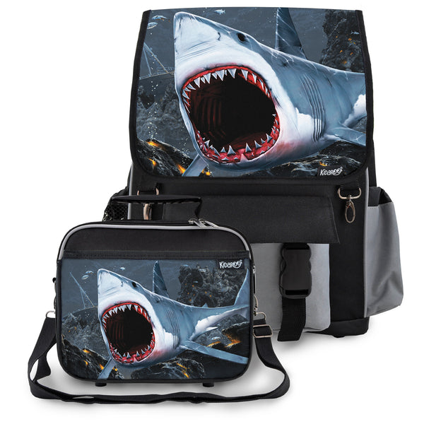 Kidaroo Black Great White Shark Bite School Backpack & Lunchbox Set for Boys, Girls, Kids