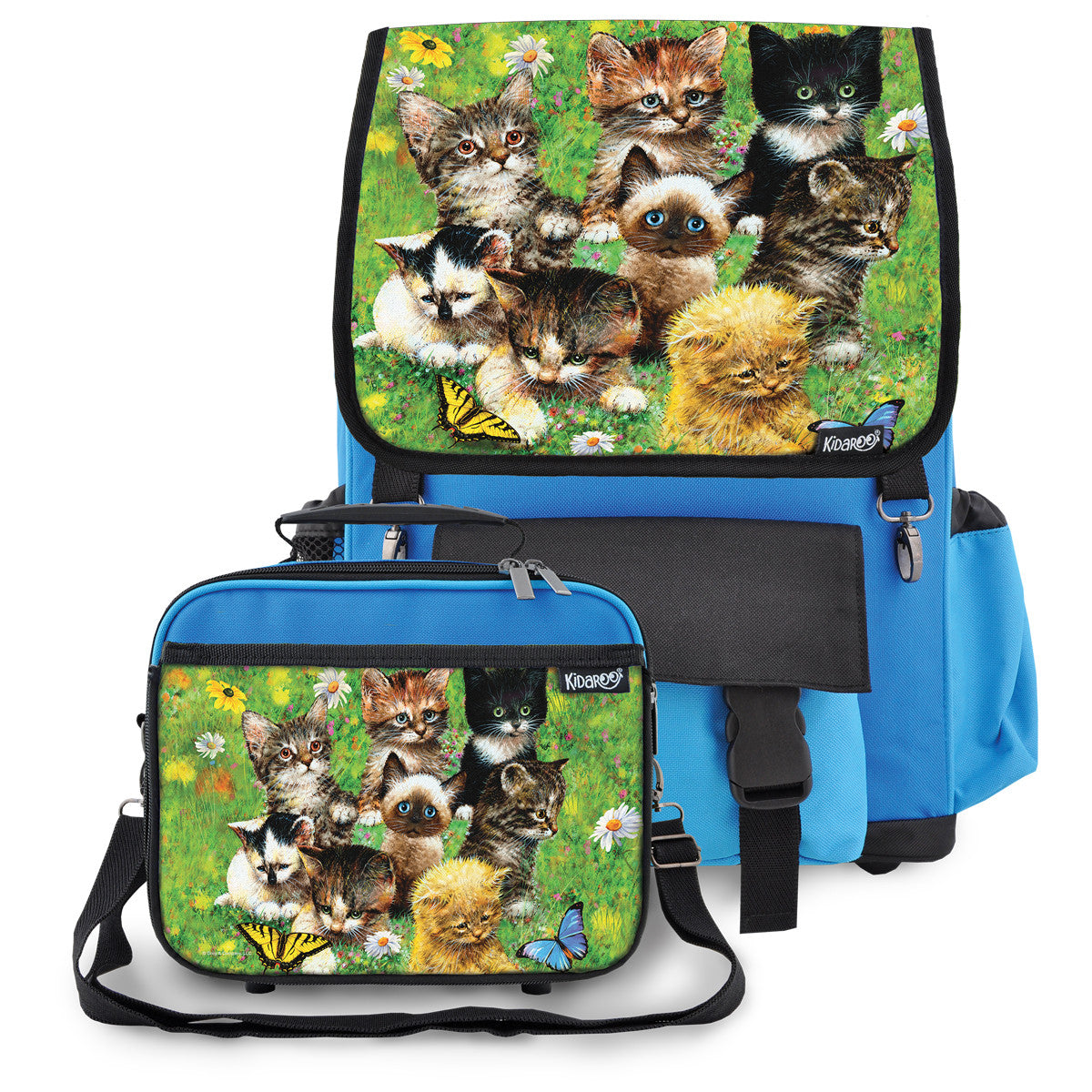 Kidaroo Blue Cute Little Kittens School Backpack & Lunchbox Set for Boys, Girls, Kids