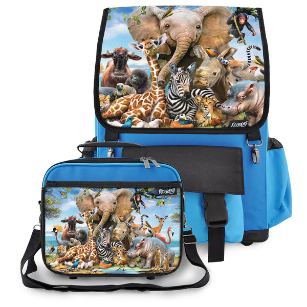 Safari Smile School Backpack & Lunchbox Set for Boys, Girls, Kids