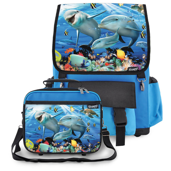 Kidaroo Blue Dolphin Sunshine On The Reef School Backpack & Lunchbox Set for Boys, Girls, Kids