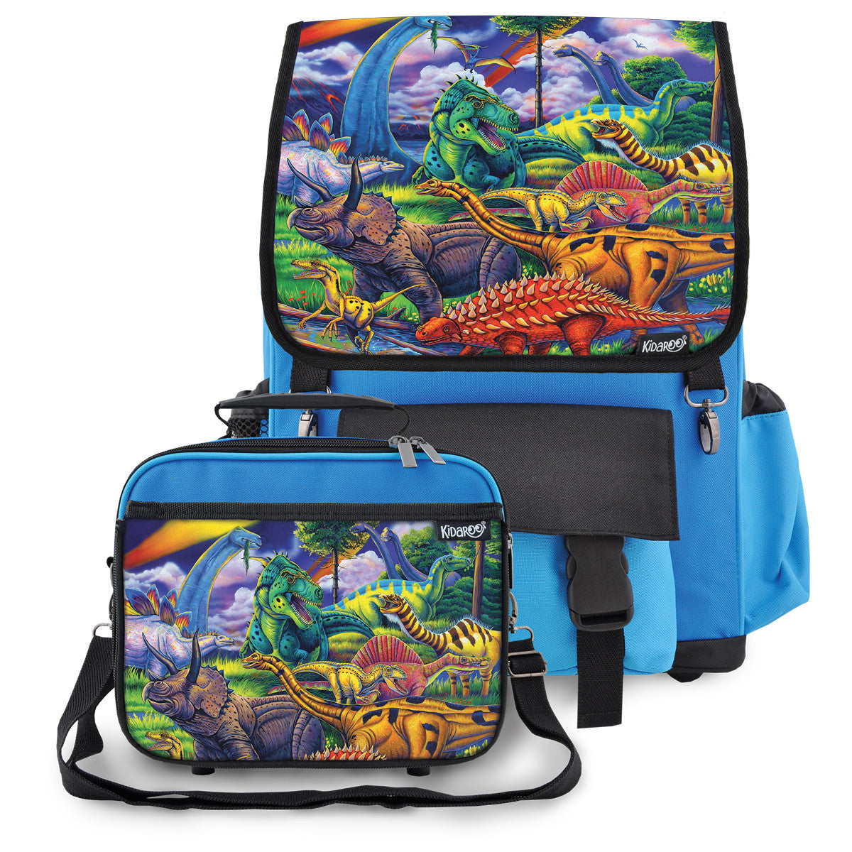 Kidaroo Blue Dinosaur Jungle School Backpack & Lunchbox Set for Boys, Girls, Kids