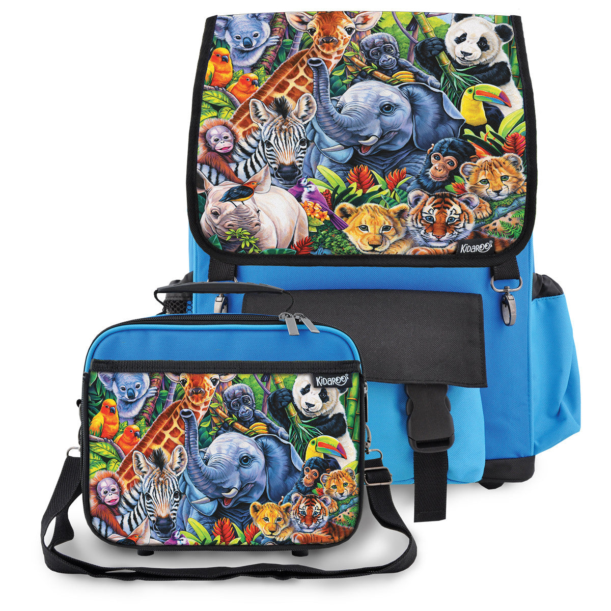 Kidaroo Blue Jungle Blue School Backpack & Lunchbox Set for Boys, Girls, Kids