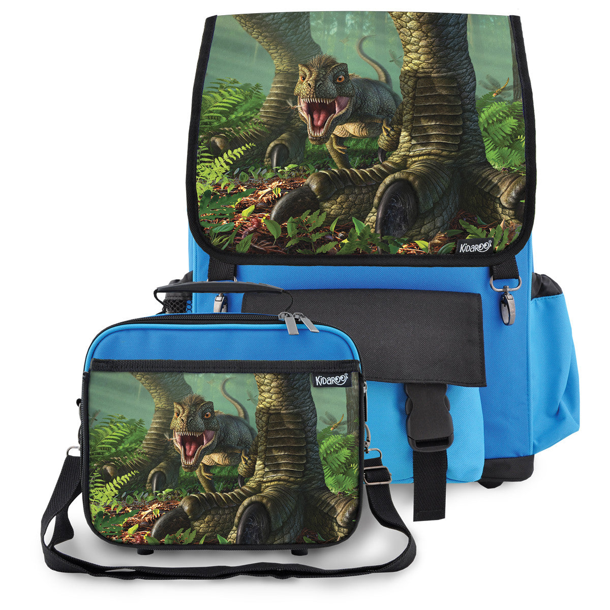 Kidaroo Blue Baby Wee Rex Dinosaur School Backpack & Lunchbox Set for Boys, Girls, Kids