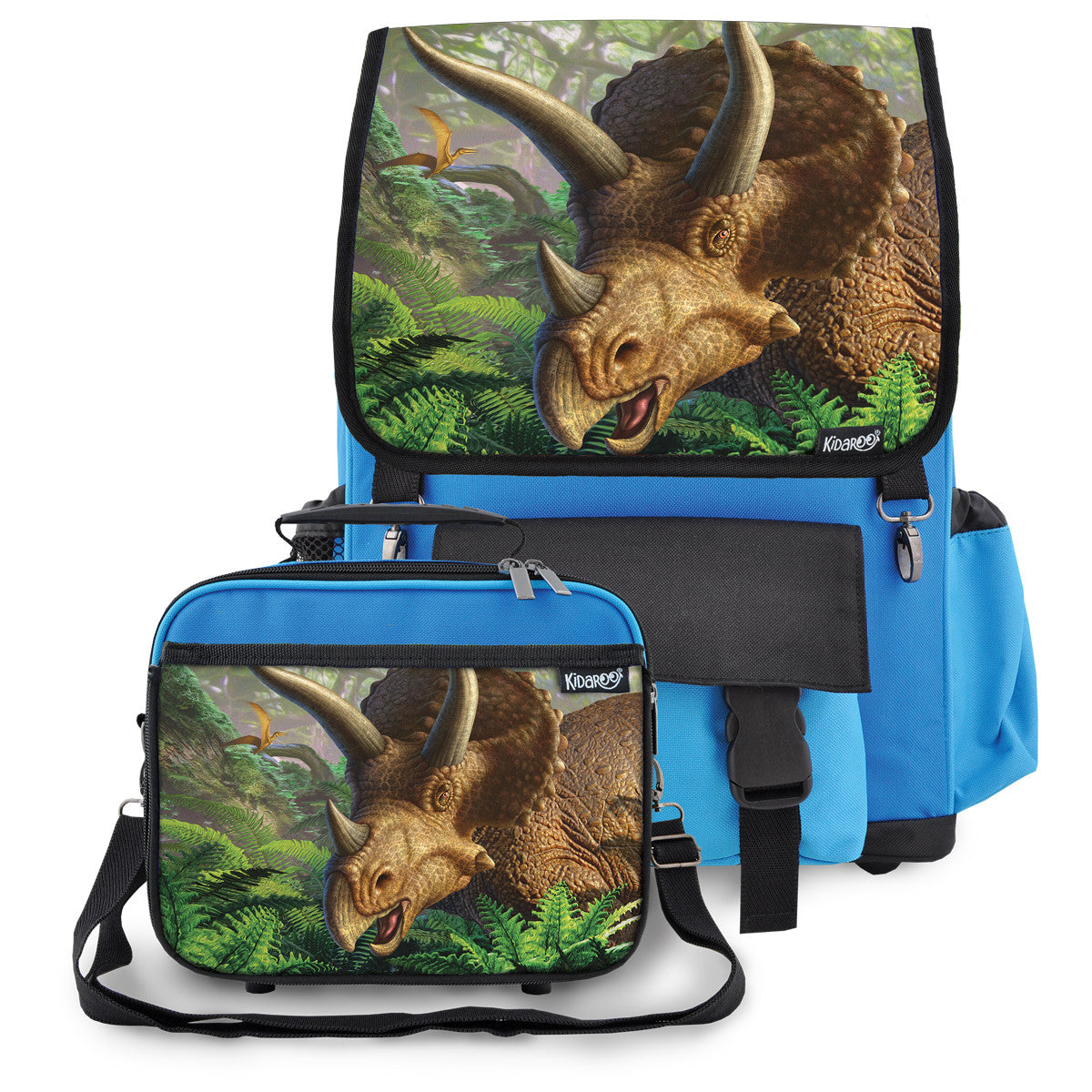 Kidaroo Blue Triceratops Dinosaur School Backpack & Lunchbox Set for Boys, Girls, Kids