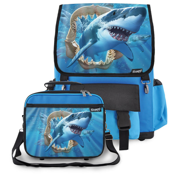 Kidaroo Blue Great White Shark Jaws School Backpack & Lunchbox Set for Boys, Girls, Kids