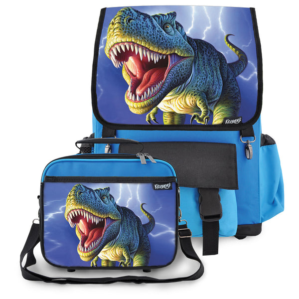 Kidaroo Blue Lightning Rex Dinosaur School Backpack & Lunchbox Set for Boys, Girls, Kids