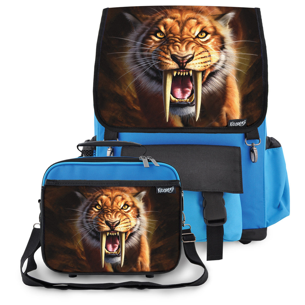 Kidaroo Blue Saber Tooth Tiger School Backpack & Lunchbox Set for Boys, Girls, Kids