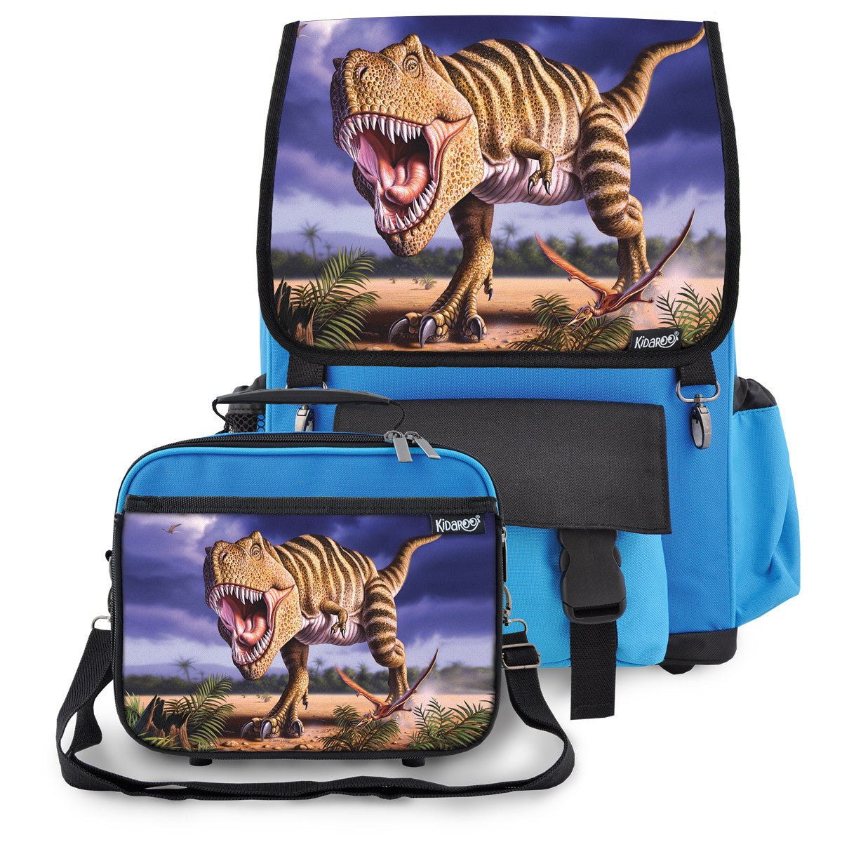 Kidaroo Blue Stripped T-Rex Dinosaur Backpack & Lunchbox for Boys, Girls, Kids