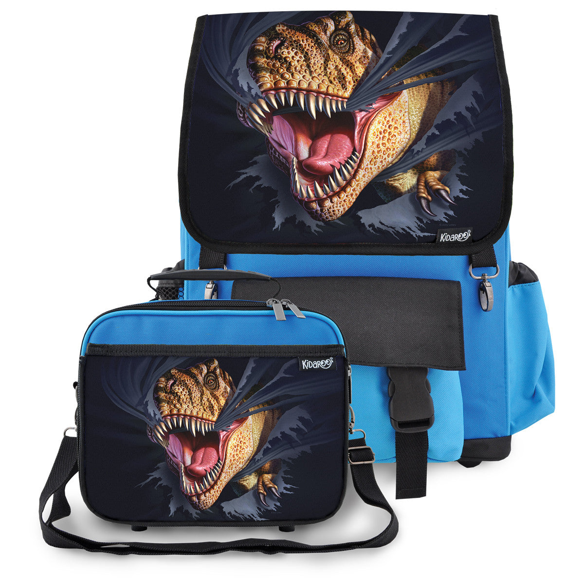 Kidaroo Blue Tearing T-Rex Dinosaur School Backpack & Lunchbox Set for Boys, Girls, Kids