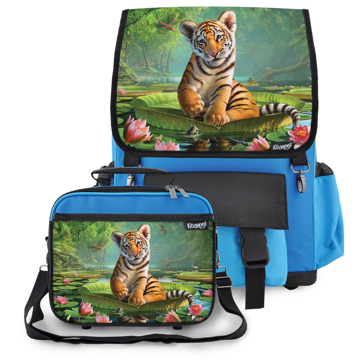 Kidaroo Blue Tiger Cub On Lily Pad School Backpack & Lunchbox Set for Boys, Girls, Kids