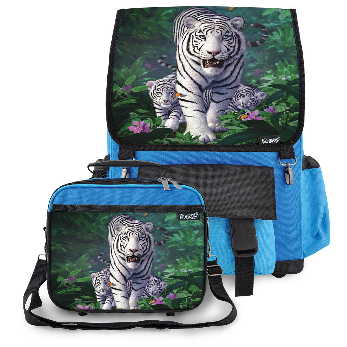 Kidaroo Blue White Tiger & Cubs School Backpack & Lunchbox Set for Boys, Girls, Kids