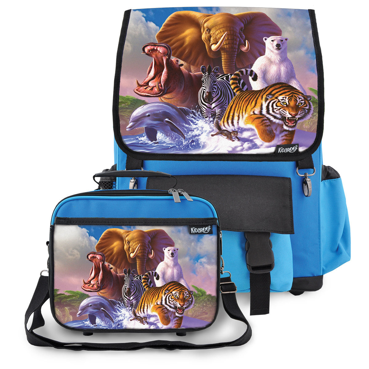 Kidaroo Blue Wildlife Planet School Backpack & Lunchbox Set for Boys, Girls, Kids