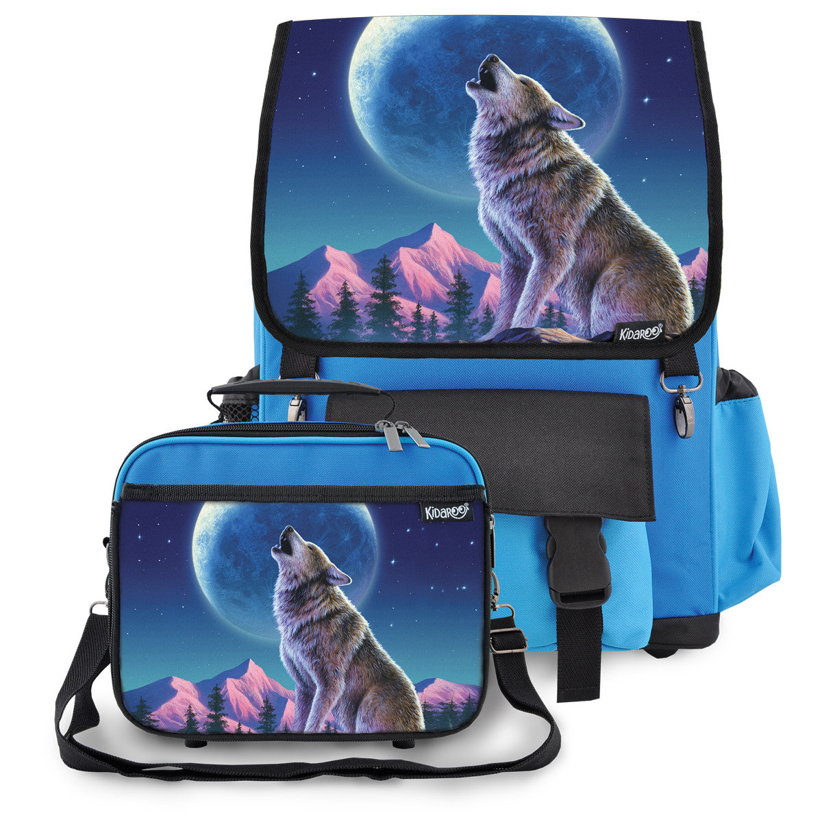 Kidaroo Blue Wolf Moon Howl School Backpack & Lunchbox Set for Boys, Girls, Kids