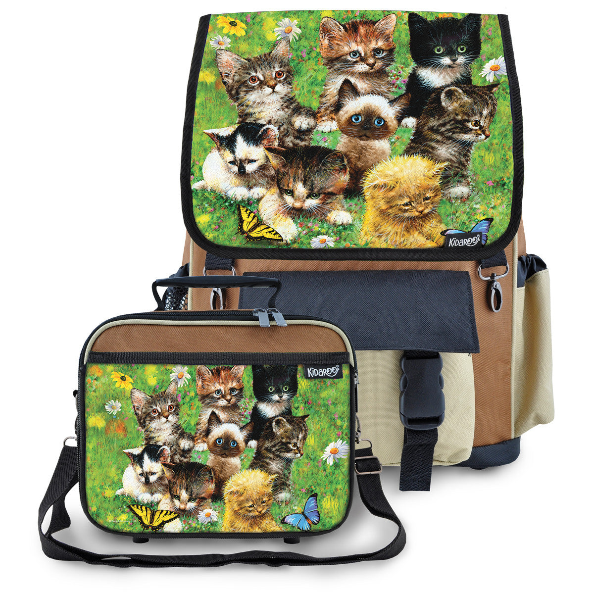 Kidaroo Brown Cute Little Kittens School Backpack & Lunchbox Set for Boys, Girls, Kids