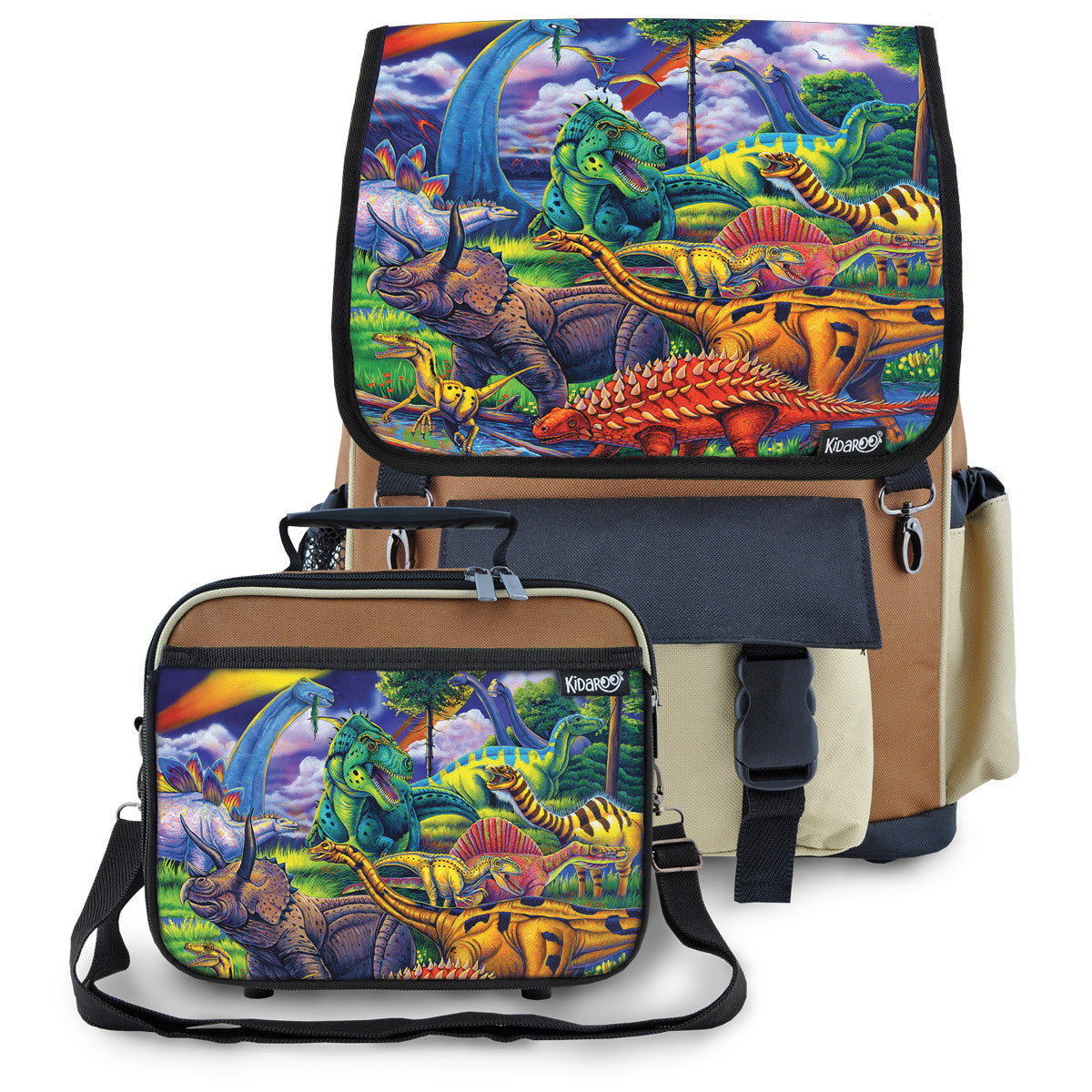 Kidaroo Brown Dinosaur Jungle School Backpack & Lunchbox Set for Boys, Girls, Kids