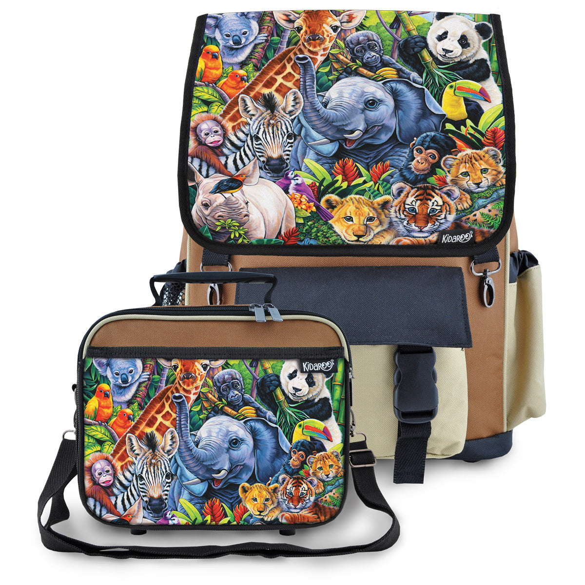 Kidaroo Brown Jungle Babies School Backpack & Lunchbox Set for Boys, Girls, Kids