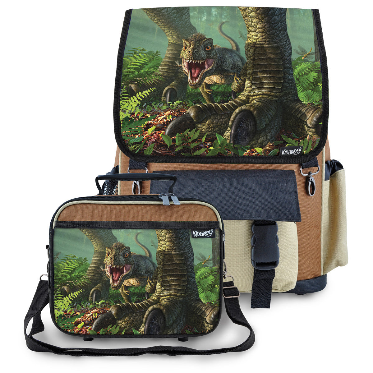 Kidaroo Brown Baby Wee Rex Dinosaur School Backpack & Lunchbox Set for Boys, Girls, Kids