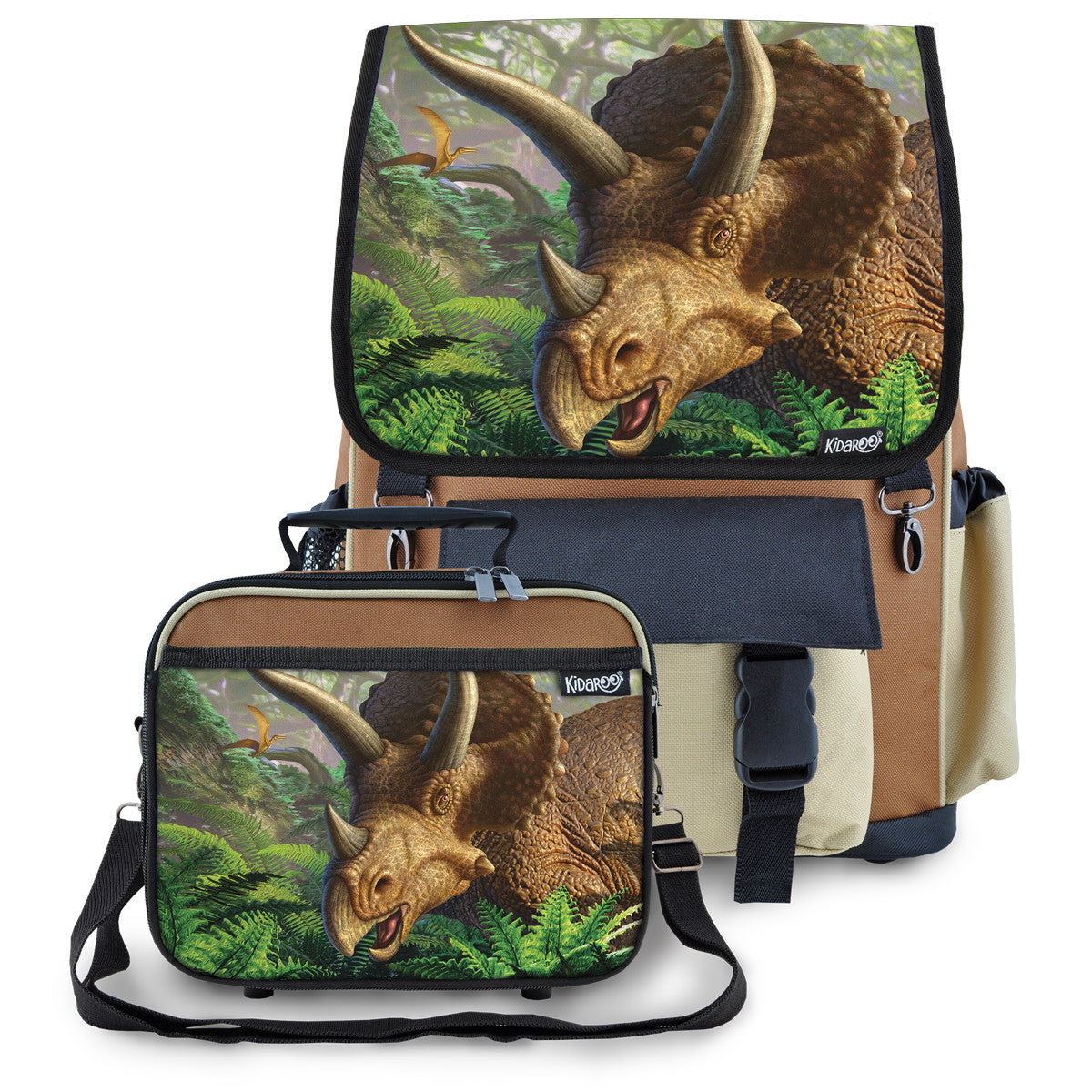 Kidaroo Brown Triceratops Dinosaur School Backpack & Lunchbox Set for Boys, Girls, Kids