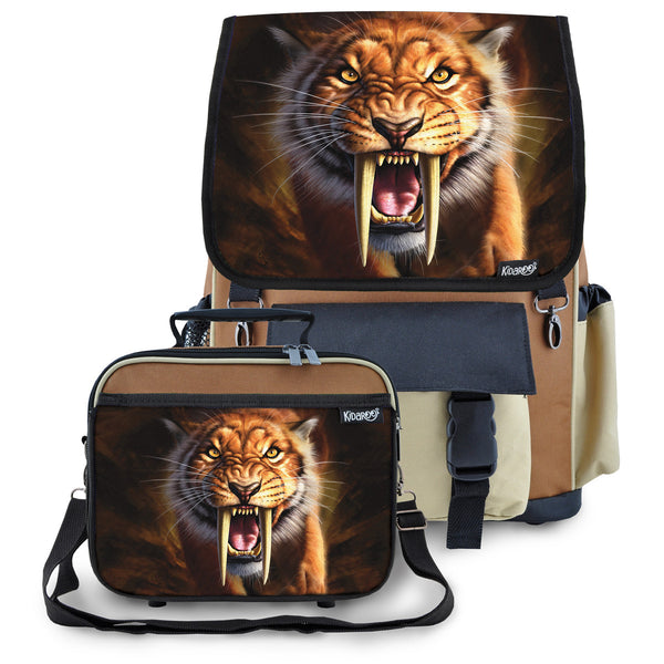 Kidaroo Brown Saber Tooth Tiger School Backpack & Lunchbox Set for Boys, Girls, Kids