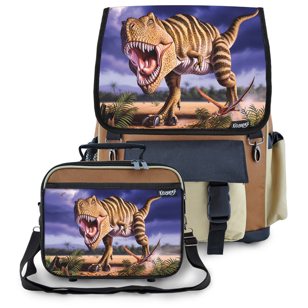 Kidaroo Brown Stripped T-Rex Dinosaur Backpack & Lunchbox for Boys, Girls, Kids