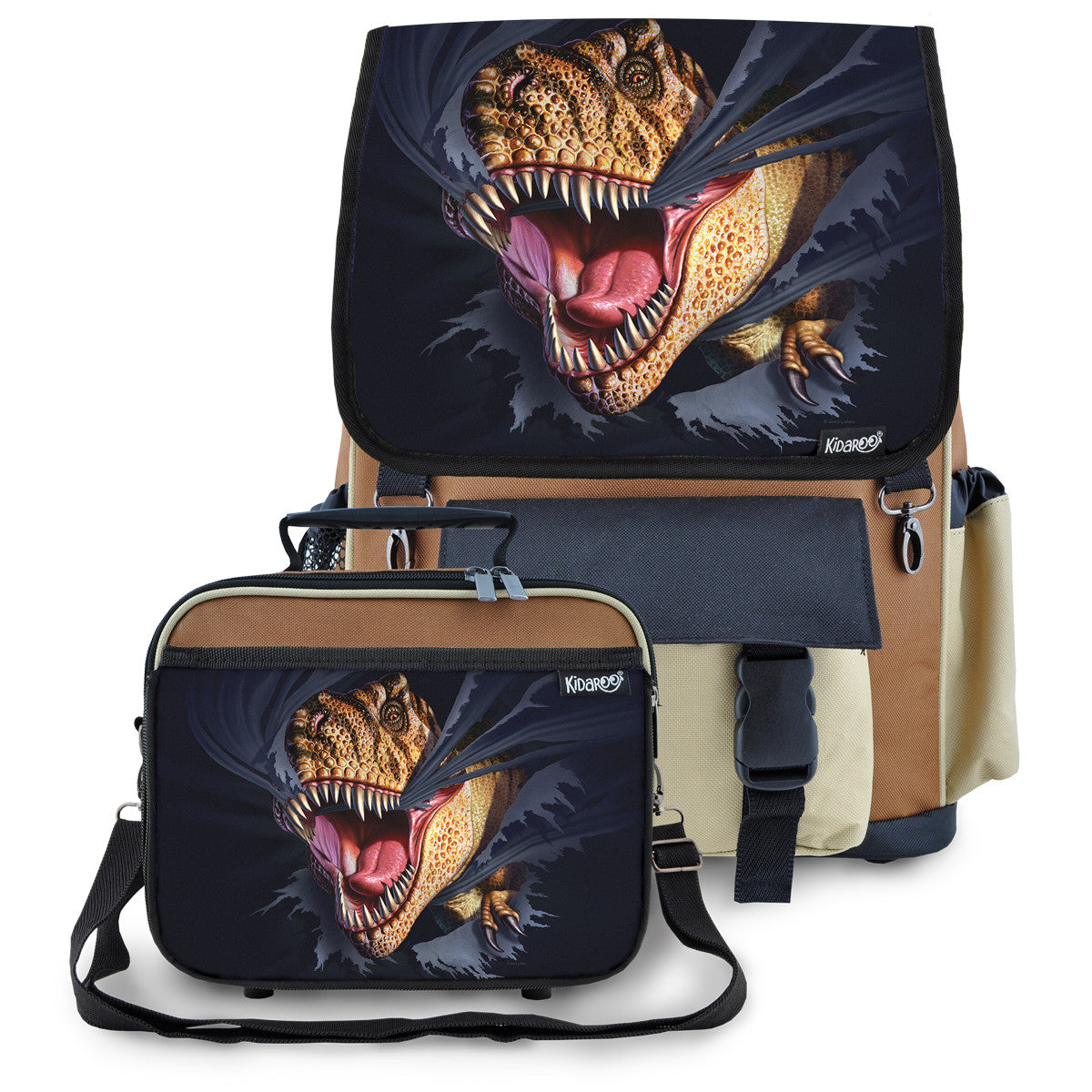 Kidaroo Brown Tearing T-Rex Dinosaur School Backpack & Lunchbox Set for Boys, Girls, Kids