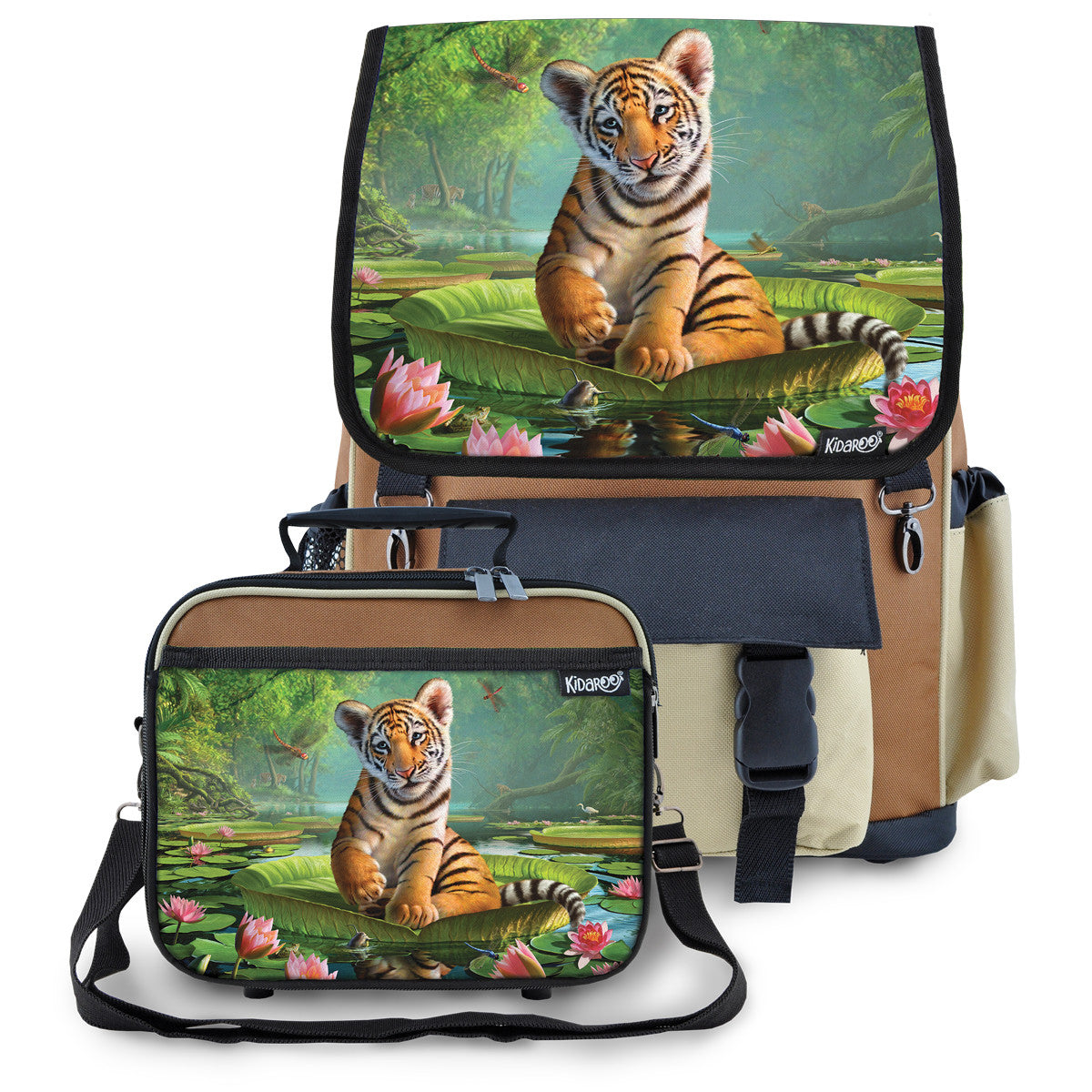 Kidaroo Brown Tiger Cub On Lily Pad School Backpack & Lunchbox Set for Boys, Girls, Kids