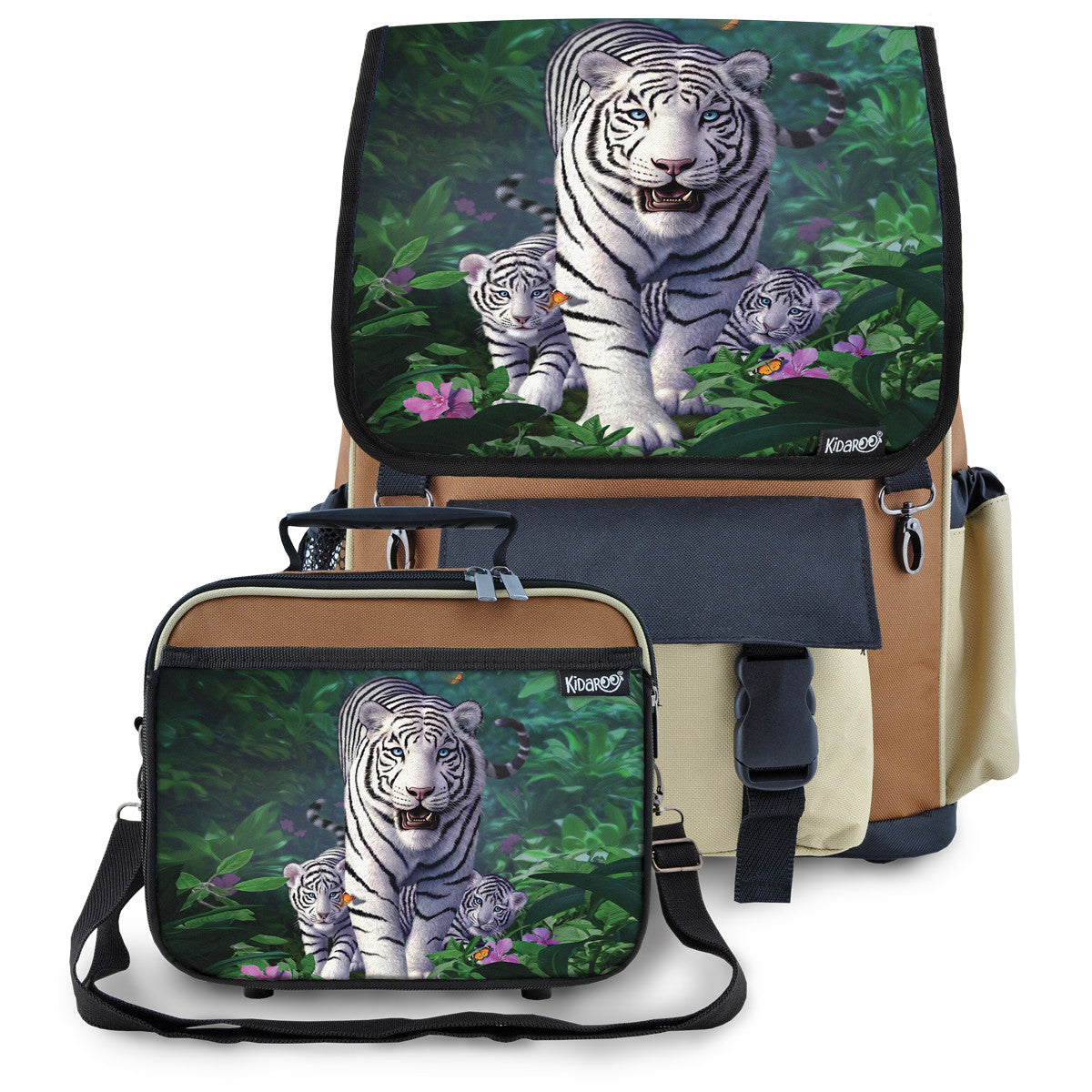 Kidaroo Brown White Tiger & Cubs School Backpack & Lunchbox Set for Boys, Girls, Kids