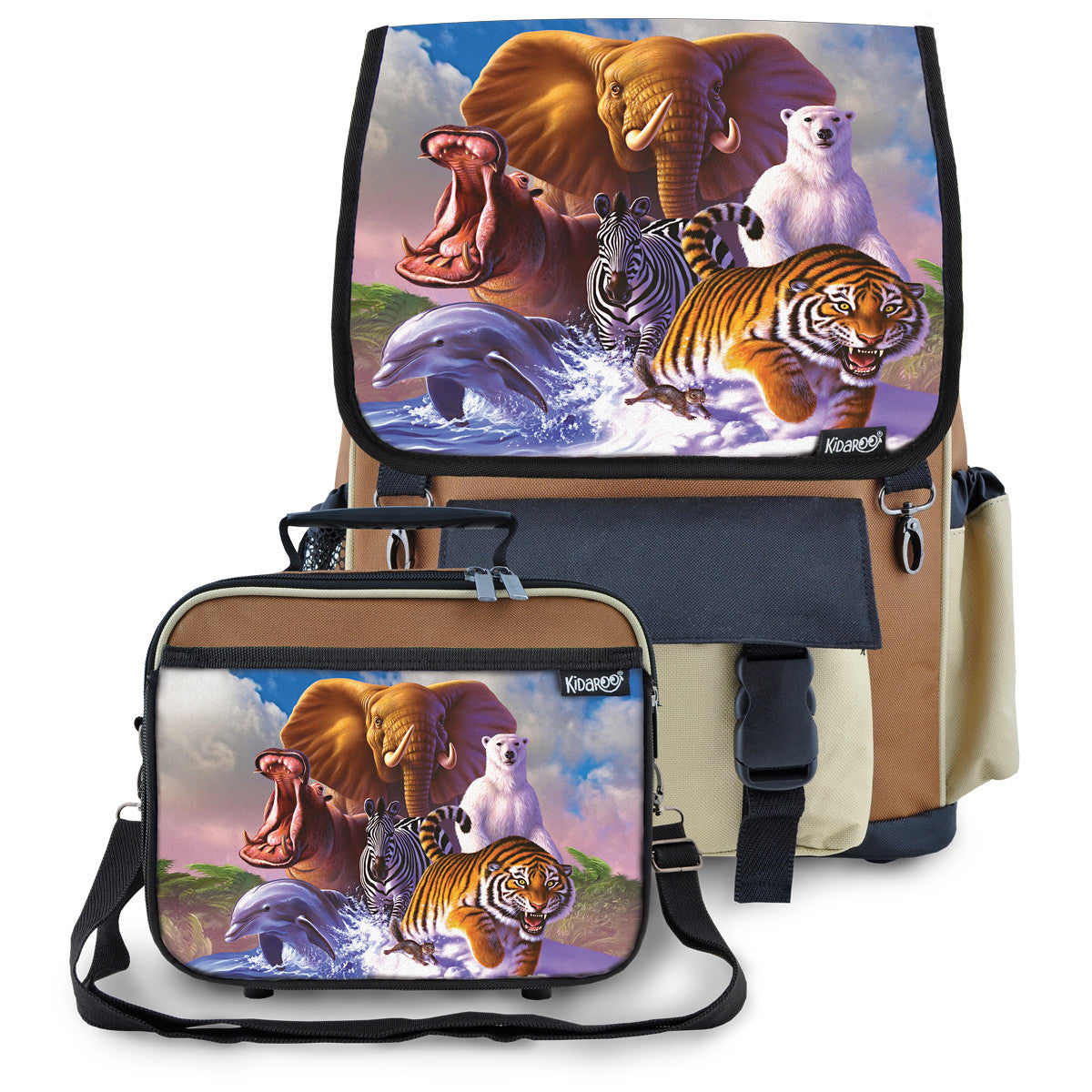 Kidaroo Brown Wildlife Planet School Backpack & Lunchbox Set for Boys, Girls, Kids
