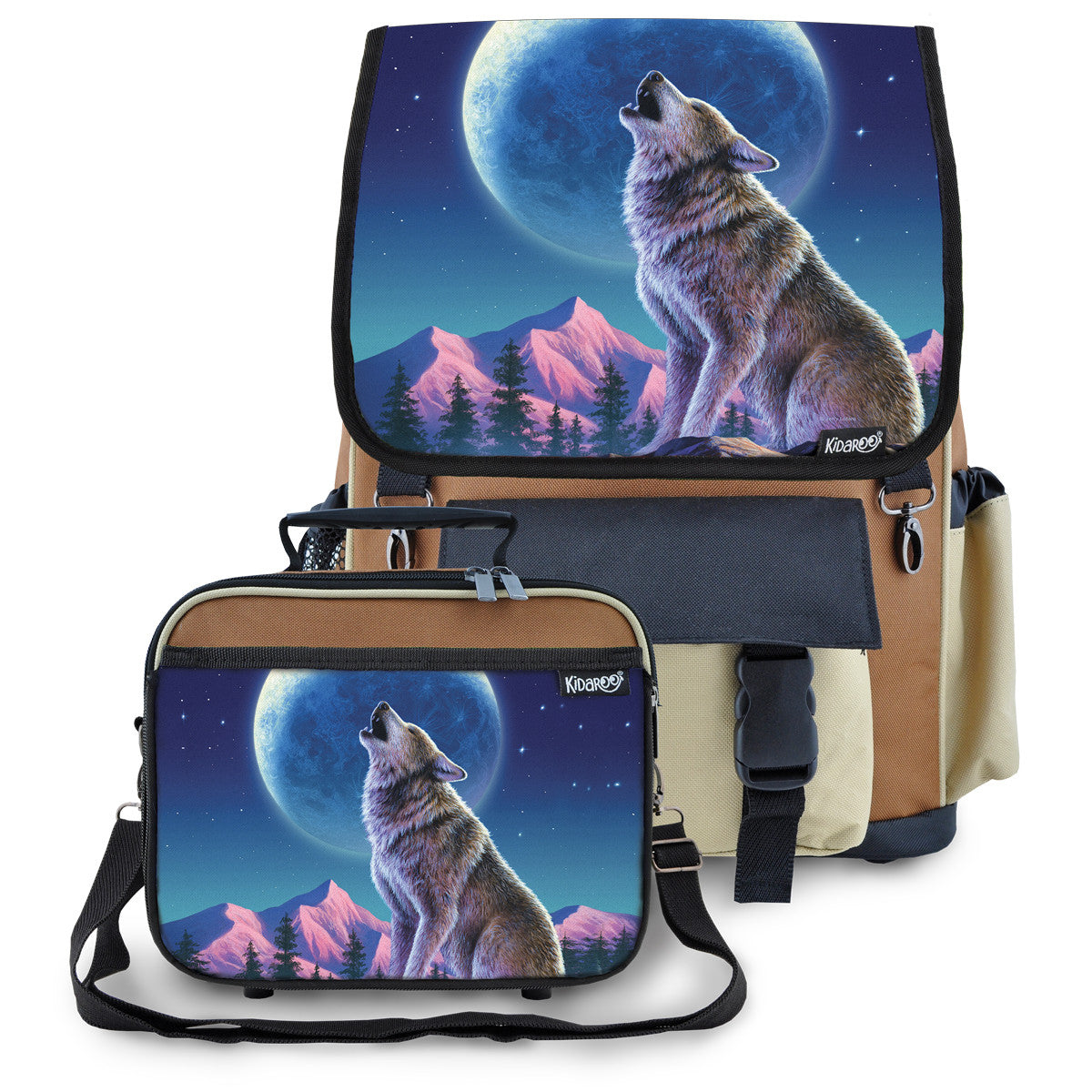 Kidaroo Brown Wolf Moon Howl School Backpack & Lunchbox Set for Boys, Girls, Kids