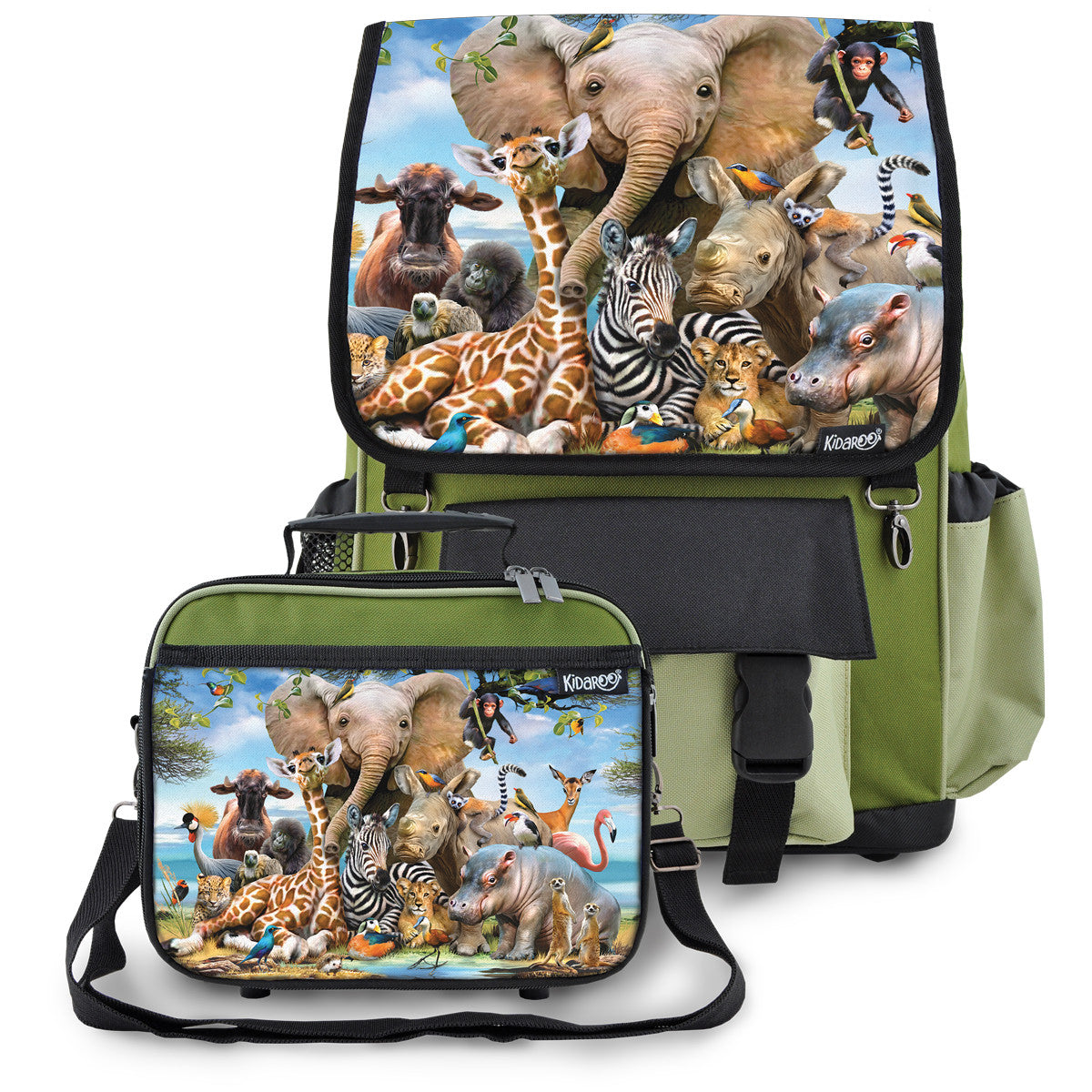 Kidaroo Khaki Green Cute Little Kittens School Backpack & Lunchbox Set for Boys, Girls, Kids