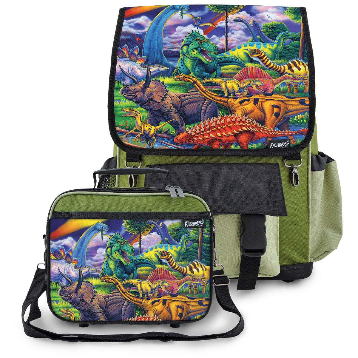 Kidaroo Green Dinosaur Jungle School Backpack & Lunchbox Set for Boys, Girls, Kids