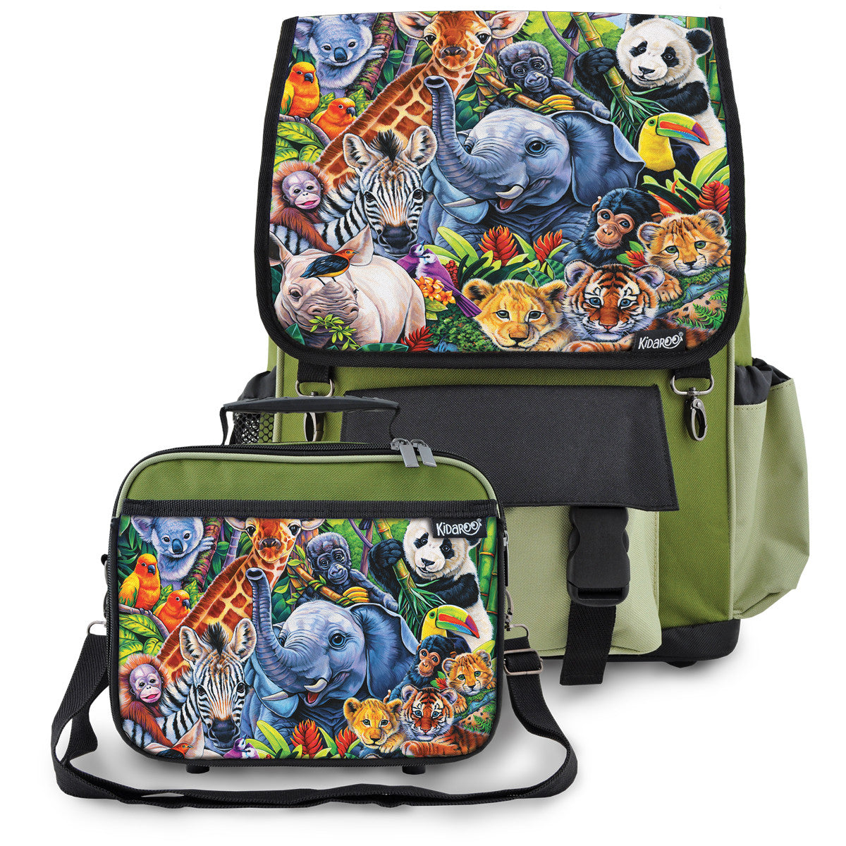 Kidaroo Khaki Green Jungle Babies School Backpack & Lunchbox Set for Boys, Girls, Kids
