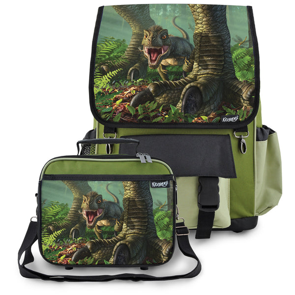 Kidaroo Khaki Green Baby Wee Rex Dinosaur School Backpack & Lunchbox Set for Boys, Girls, Kids