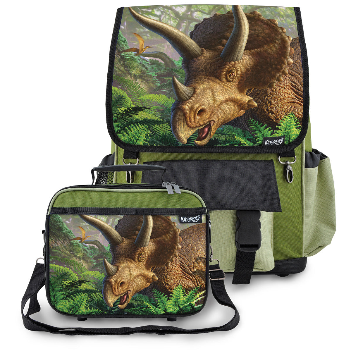 Kidaroo Khaki Green Triceratops Dinosaur School Backpack & Lunchbox Set for Boys, Girls, Kids