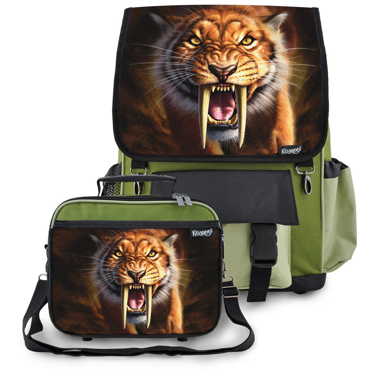 Kidaroo Khaki Green Saber Tooth Tiger School Backpack & Lunchbox Set for Boys, Girls, Kids