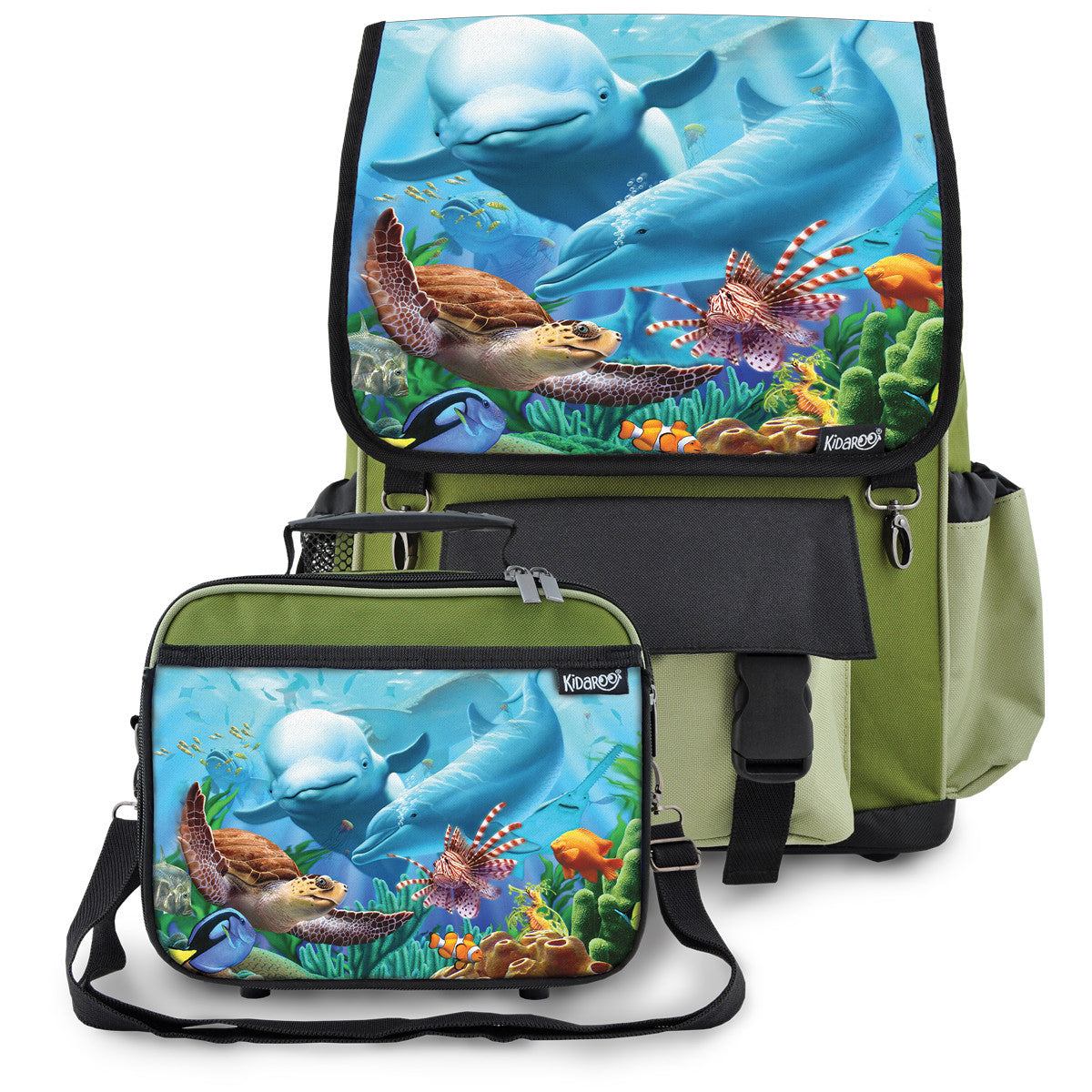 Sea Village School Backpack & Lunchbox Set for Boys, Girls, Kids