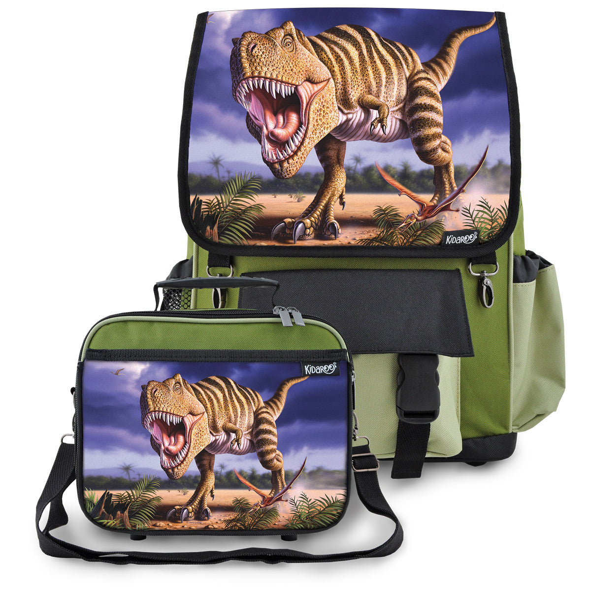 Kidaroo Khaki Green Stripped T-Rex Dinosaur Backpack & Lunchbox for Boys, Girls, Kids
