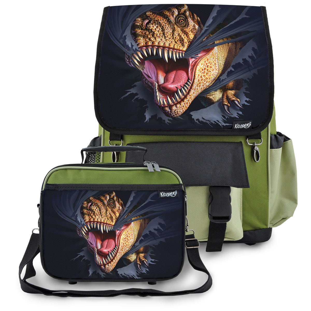 Kidaroo Khaki Green Tearing T-Rex Dinosaur School Backpack & Lunchbox Set for Boys, Girls, Kids