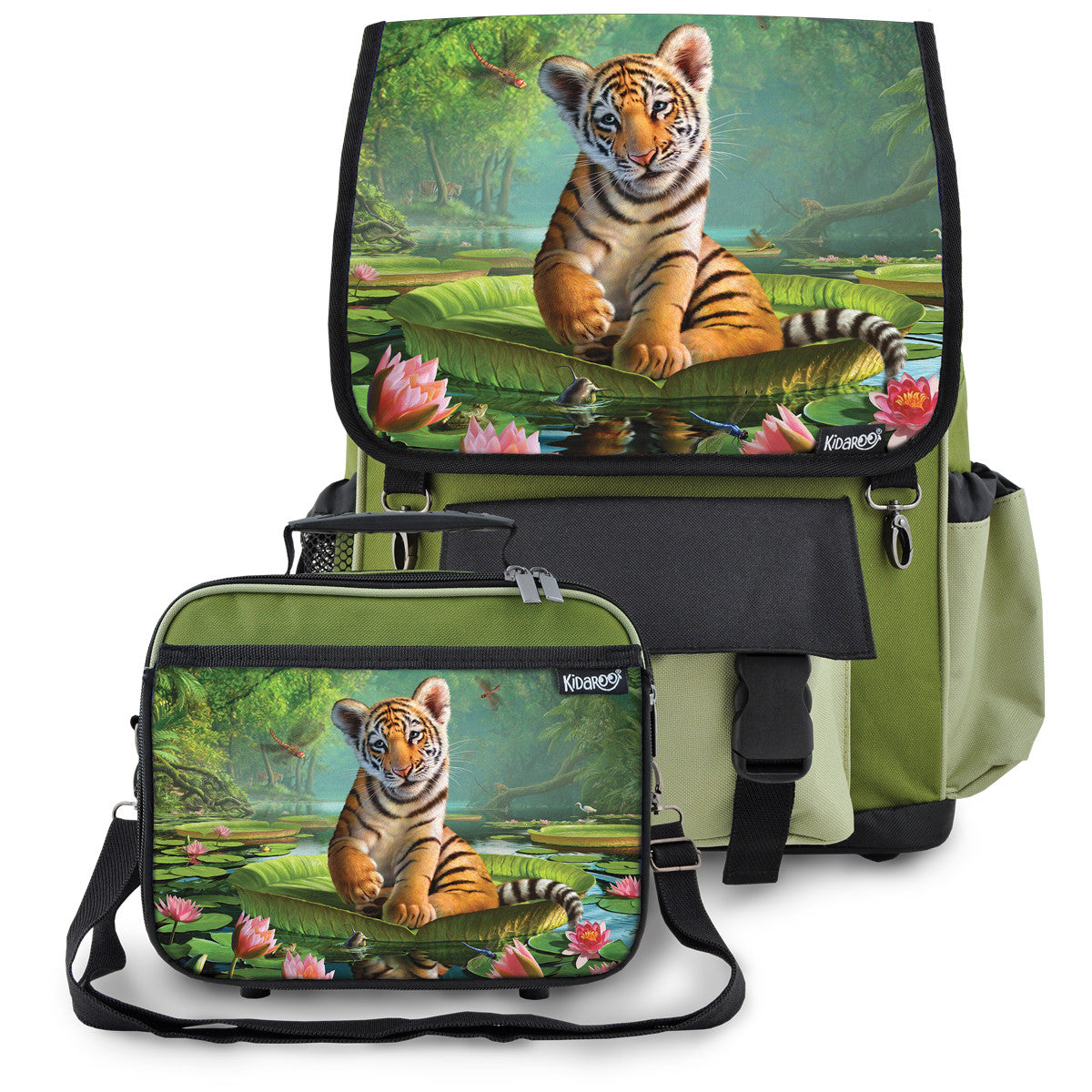 Kidaroo Khaki Green Tiger Cub On Lily Pad School Backpack & Lunchbox Set for Boys, Girls, Kids