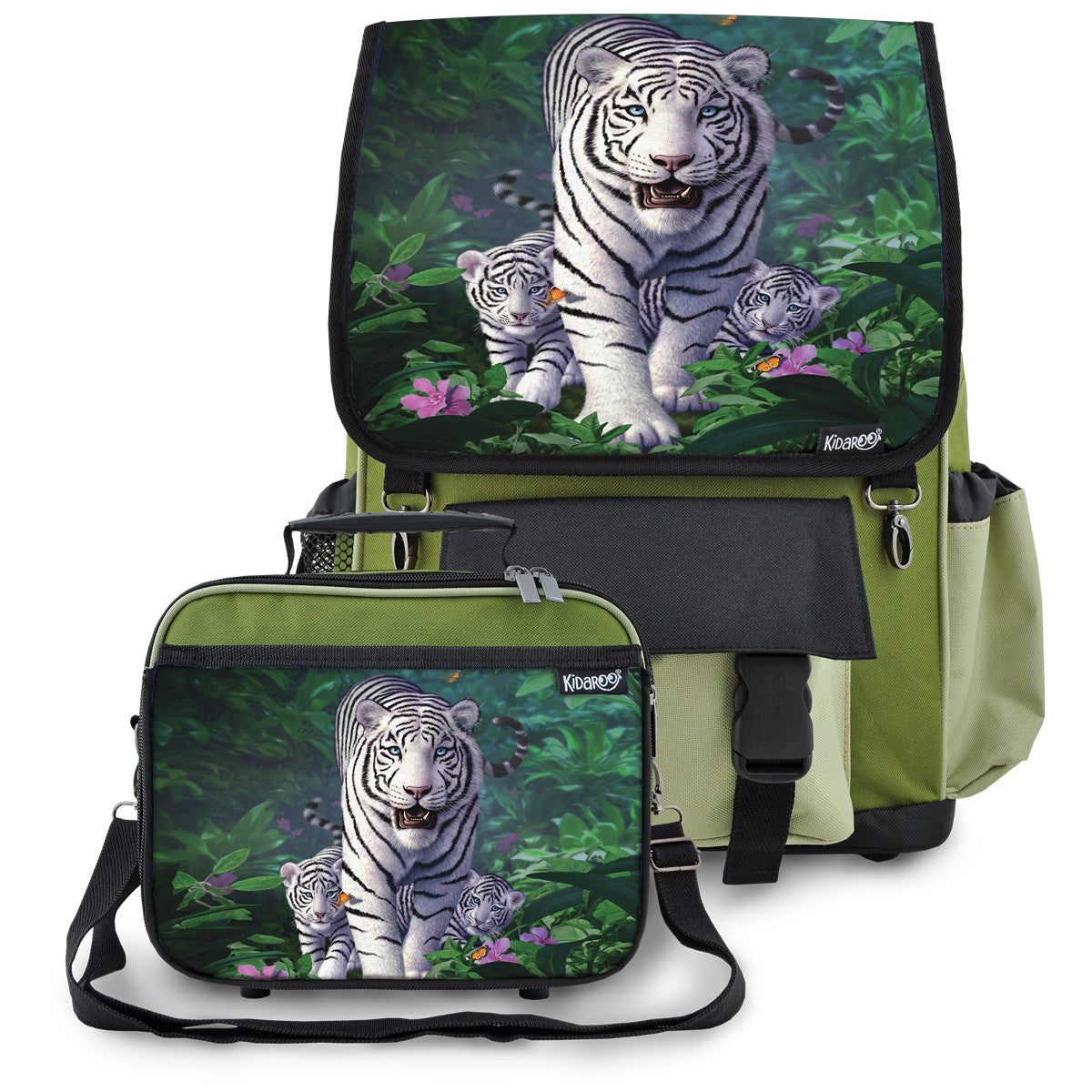 Kidaroo Khaki Green White Tiger & Cubs School Backpack & Lunchbox Set for Boys, Girls, Kids