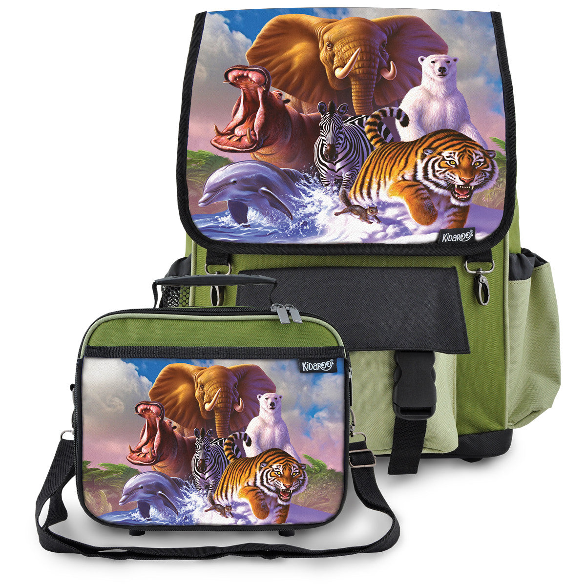 Kidaroo Green Wildlife Planet School Backpack & Lunchbox Set for Boys, Girls, Kids