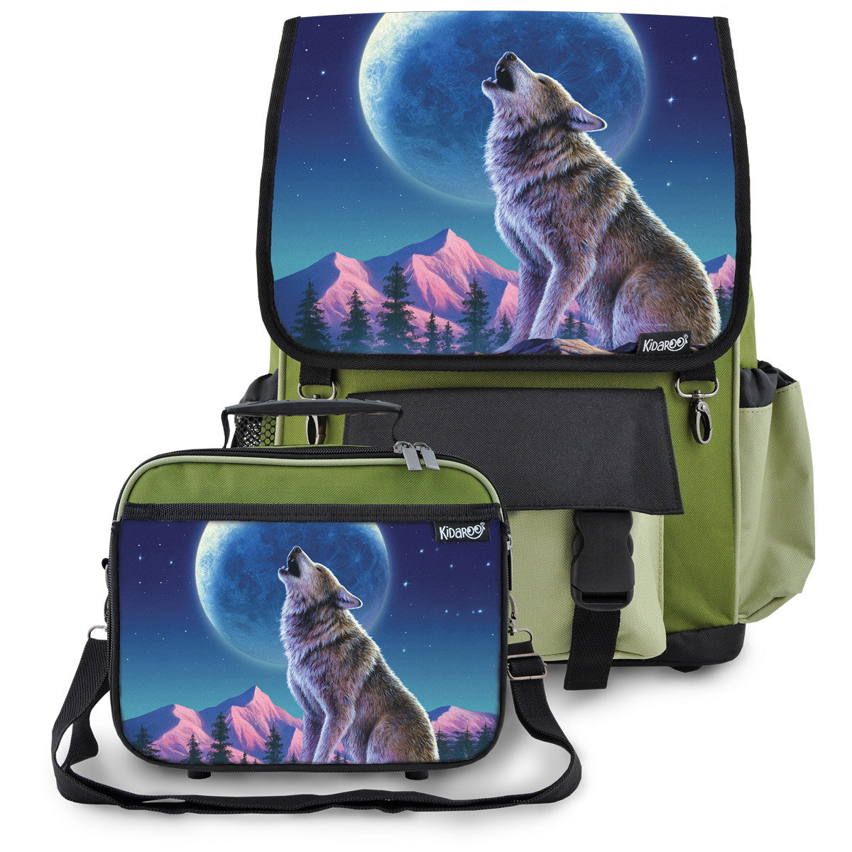 Kidaroo Khaki Green Wolf Moon Howl School Backpack & Lunchbox Set for Boys, Girls, Kids
