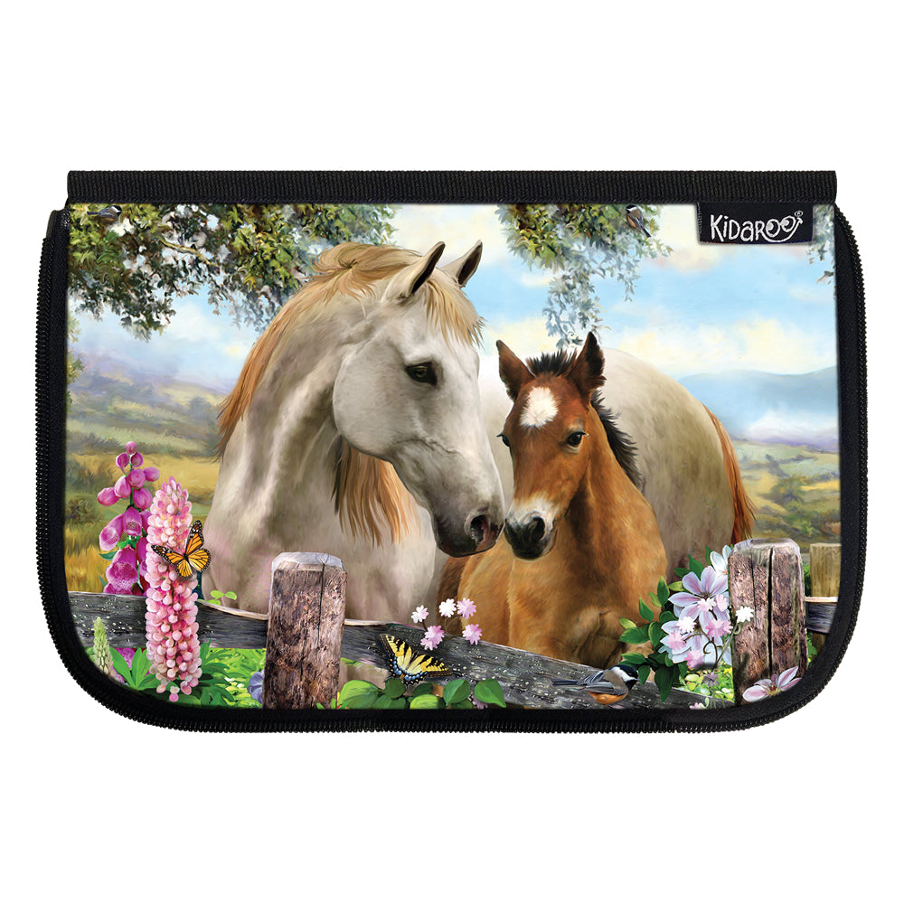 Kidaroo Summer Meadow Horses School Lunch Box Flap