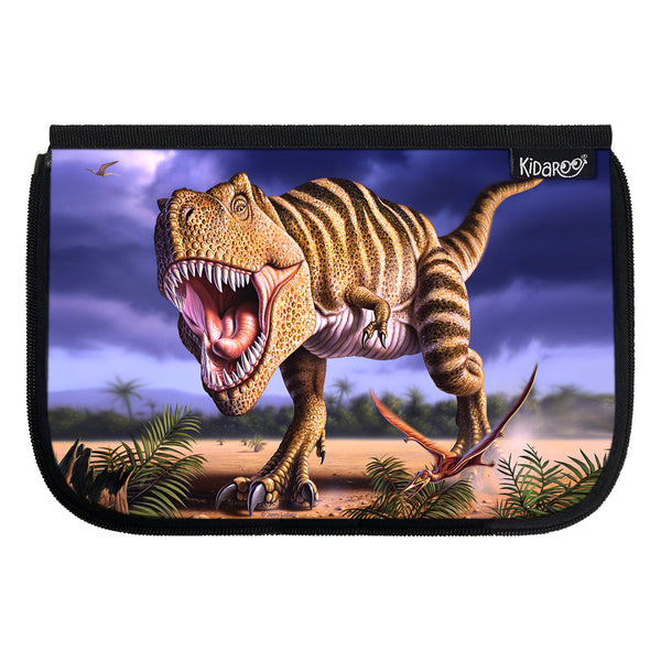Kidaroo Striped T-Rex Dinosaur School Lunch Box Flap